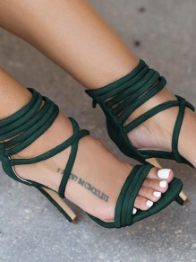 Green Round Toe Stiletto Zipper Ankle Strap Fashion High-Heeled Sandals