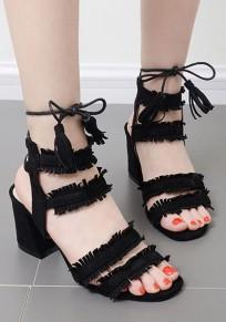 Black Round Toe Chunky Lace-up Tassel Fashion High-Heeled Sandals