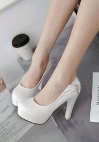 White Round Toe Chunky Bow Rhinestone Fashion High-Heeled Shoes