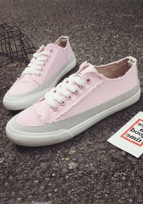 Pink Round Toe Flat Lace-up Casual Canvas Shoes