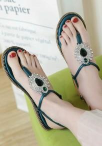 Dark Green Round Toe Flat Rhinestone Buckle Casual Ankle Sandals