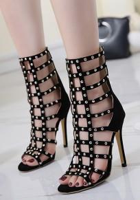 Black Piscine Mouth Stiletto Cut Out Rivet Fashion Mid-Calf Sandals