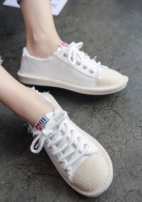 White Round Toe Flat Lace-up Casual Canvas Shoes