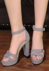 Grey Round Toe Chunky Buckle Fashion High-Heeled Sandals