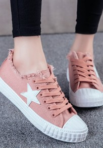 Pink Round Toe Flat Star Print Casual Shoes