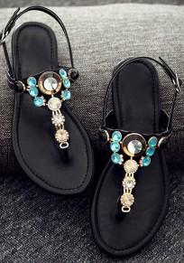 Sandali girocollo piatto rettangolare in alluminio casualee nero