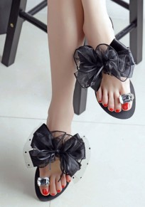 Sandales femme bout rond noeud papillon plat avec strass mignon d'été plage flip flops noir