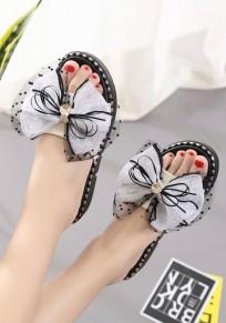 White Round Toe Flat Bow Rhinestone Fashion Slippers