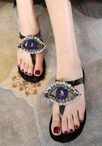 Deslizadores planos de la manera del diamante de imitación del dedo del pie redondo negro