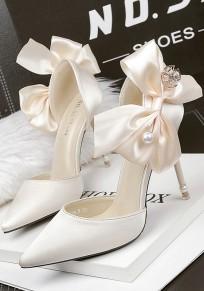 Light Golden Point Toe Stiletto Bow Pearl Satin Elegant Wedding Prom High-Heeled Shoes