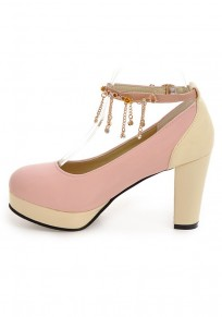 Pink Round Toe Chunky Rhinestone Tassel Buckle Sweet High-Heeled Shoes