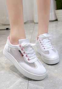 Pink Round Toe Heavy-Soled Lace-up Casual Shoes