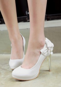 White Round Toe Stiletto Bow Rhinestone Sweet High-Heeled Shoes