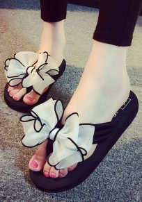 White Round Toe Flat Ribbon Bow Sweet Slippers