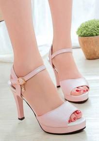 Sandales bouche de piscine talon aiguisé boucle décontracté à talons hauts rose