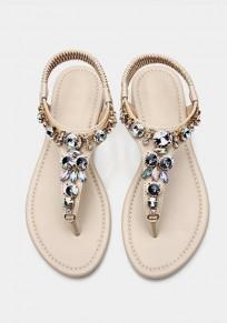Sandales bijoux bout rond avec strass plat décontracté mode beige femme