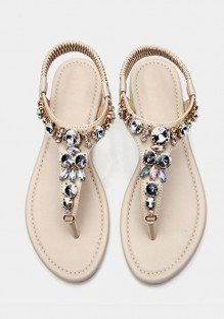 Beige Round Toe Flat Rhinestone Casual Ankle Sandals