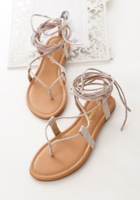 Apricot Round Toe Flat Cross Strap Bohemian Ankle Sandals