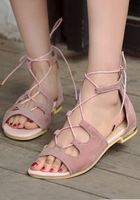 Pink Round Toe Flat Cross Strap Fashion Rome Sandals
