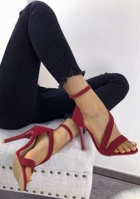 Rot Runde Zehe Stiletto Kreuz Gürtelschnalle Riemchen Elegante High Heels Pumps Sandalen Sandaletten mit Absatz Damen Schuhe
