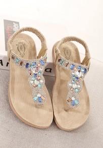 Golden Round Toe Flat Rhinestone Bohemian Ankle Sandals
