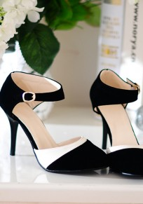 Black-White Patchwork Round Toe Stiletto Buckle Fashion High-Heeled Shoes