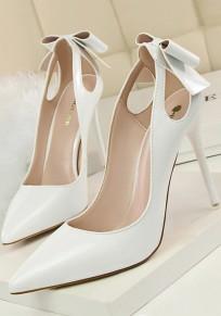 Chaussures pointé pointillé découpé cravate mode à talons hauts blanc