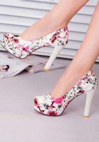 Chaussures bout rond gros imprimé fleuri à talons hauts rouge
