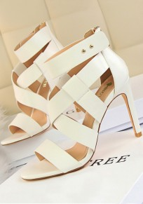 White Round Toe Cut Out Fashion High-Heeled Sandals