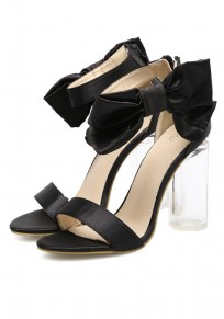 Black Round Toe Chunky Zipper Bow Fashion High-Heeled Sandals