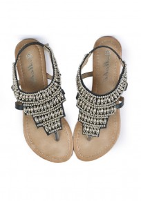 Black Round Toe Flat Metal Chain Casual Ankle Sandals