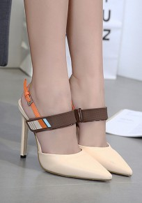 Apricot Point Toe Stiletto Cut Out Velcro Sweet Ankle Sandals