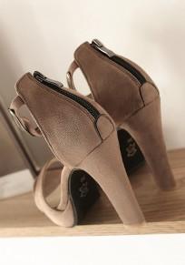 Khaki Round Toe Chunky Fashion High-Heeled Sandals