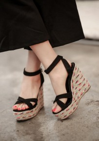 Black Round Toe Wedges Buckle Fashion High-Heeled Sandals