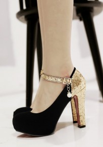 Zapatos punta redonda perla gruesa hebilla de lentejuelas de moda de tacón alto negro