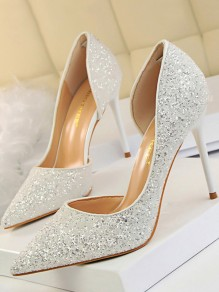 White Point Toe Stiletto Sequin Bridal Wedding Fashion High-Heeled Shoes