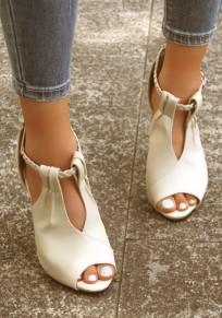 Beige Piscine Mund Stiletto Gürtelschnalle Mode Hochhackig Sandalen