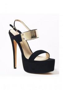 Sandalias punta redonda de aguja de chapa hebilla de metal casuales de tacón alto negro