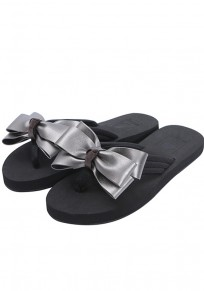 Silver Round Toe Flat Bow Casual Slippers