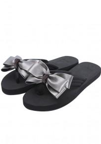 Redonda dedo del pie plano pajarita casuales zapatillas plata