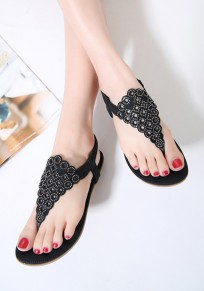 Black Round Toe Flat Rhinestone Bohemian Casual Sandals