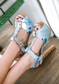 Sandals round toe chunky fleuri imprimées bouche de piscine décontracté à talons hauts bleu