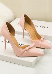 Zapatos punto de punta estilete de lazo de lazo de moda de tacón alto rosa