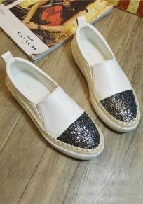 Weiße runde Zehe flache Heavy-Soled Beiläufige Knöchel-Schuhe