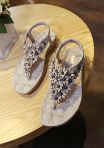 Graue runde Zehe flache Blume süße Sandalen
