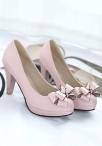 Chaussures bout rond grosse cravate décontracté à talons hauts rose