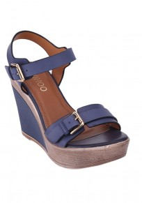 Blue Round Toe Wedges Buckle Fashion High-Heeled Sandals