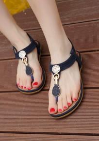 Sandales bout rond métal plat en strass décontracté bleu foncé