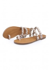 Apricot Round Toe Flat Pearl Casual Slippers