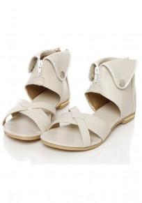 Sandales bout rond paillettes plates décontractées beige
